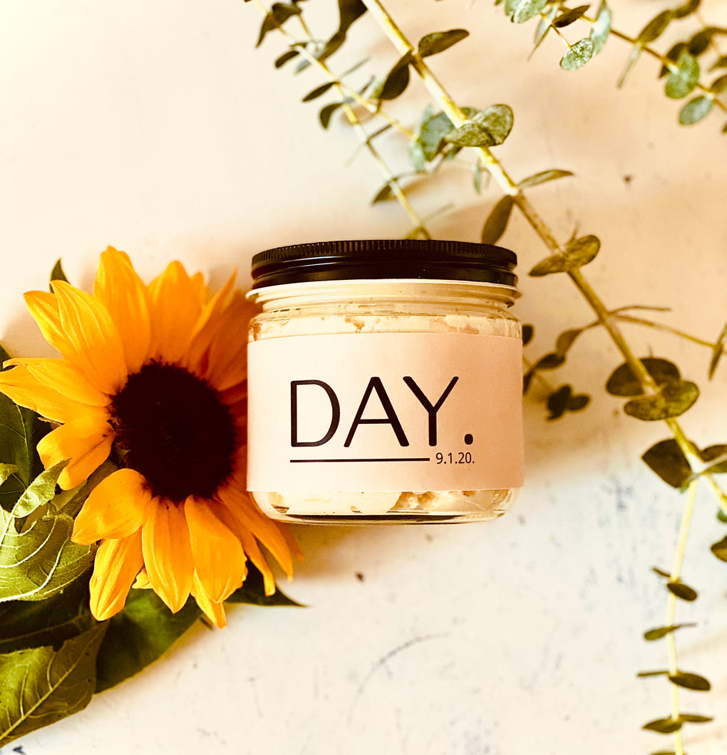 DAY Body Butter by This Stuff Goes Bad, photographed with sunflowers