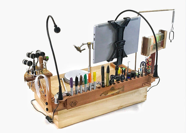 The A/V tool and tablet holder are perfect for fitting in with all the other items on the fly tying bench.