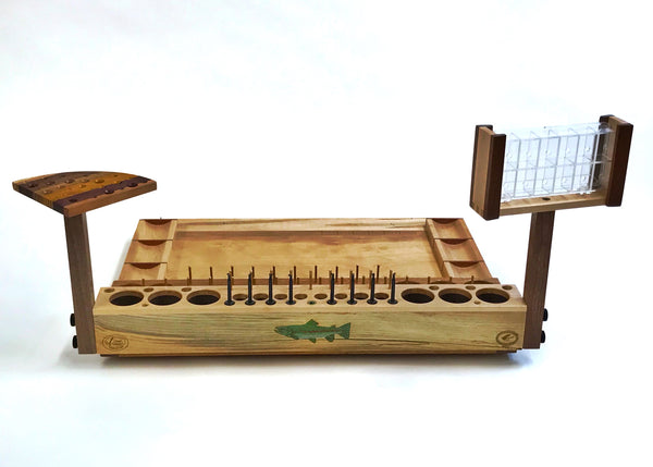 The Trophy fly tying bench comes with eight fly clips for displaying your coolest creations!