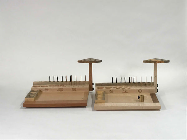 Each fly tying bench has unique character from using different hardwoods. The feet are screwed on and the front pair are set back to allow the bench to be placed over the edge of the suface it is set on.