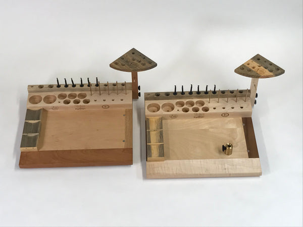 The Tenkara Free Spirit fly tying bench is shown with and without the vise stem holder. The vise stem holder is great for keeping the small bench surface open for material layout. The benches in the photo are set up for a left handed tier. Note: the vise stem holders are through bolted to the bench making them very stable and user friendly!