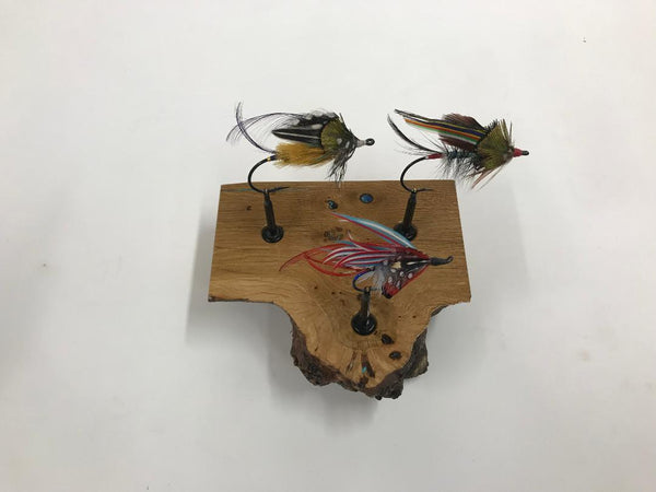 Even larger flies display really well on the smaller burl pieces.