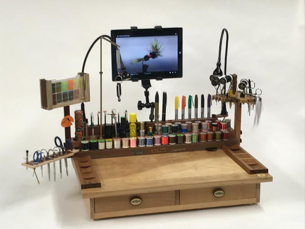 This is the two drawer Rainbow all set up with the accessories, tools and thread spools. Watching fly tying tutorials on a tablet while you tie is an awesome way to learn new patterns!