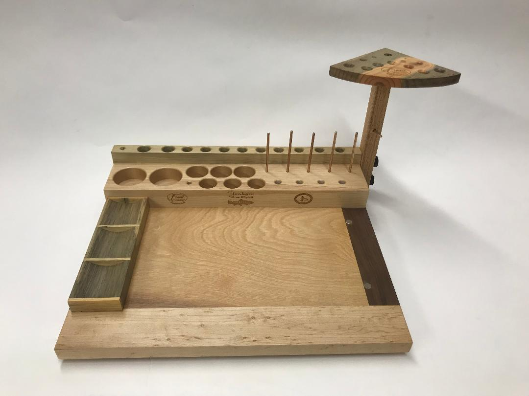 The Tenkara Free Spirit fly tying bench. The bead and hook trays are moveable to position for right or left handed use.