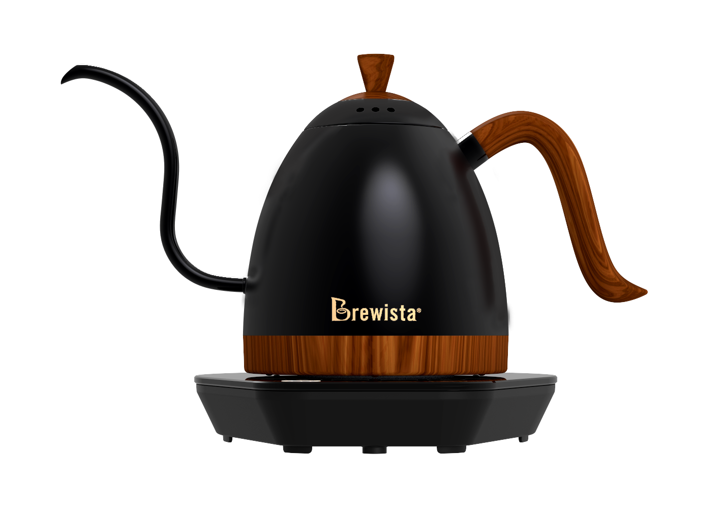 Brewista Artisan Variable Temperature Gooseneck Kettle 600ml-Black with Wood Handle