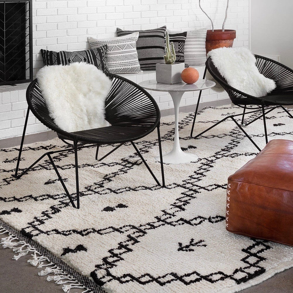 Super Moroccan Wool Rug | Black and Cream Hand Knotted Rugs – The Citizenry GD-05