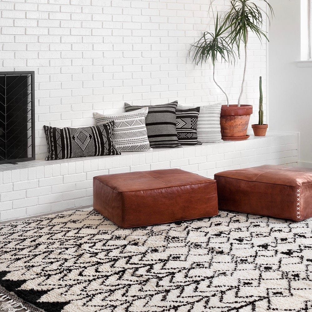 Goede Hand Knotted Wool Rugs | Black and Cream Moroccan Rug – The Citizenry SJ-88