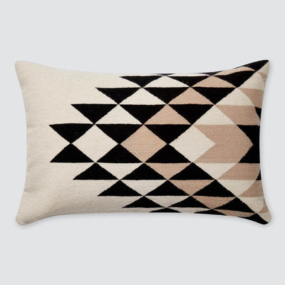 Modern Lumbar Pillow in Black, Cream, and Tan