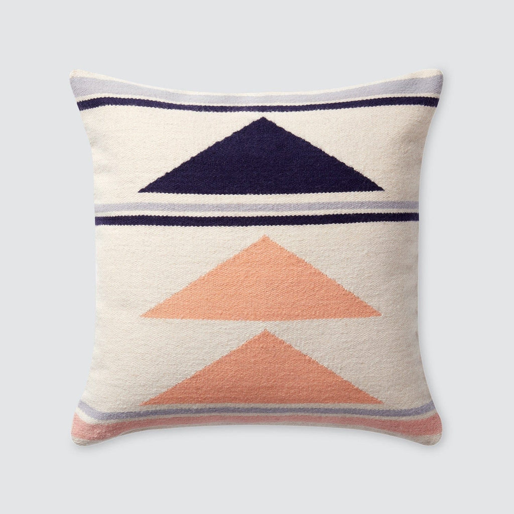 Throw Blanket And Decorative Pillow Set : Geometric Throw Pillows 100% Wool Navy & Peach ? The Citizenry