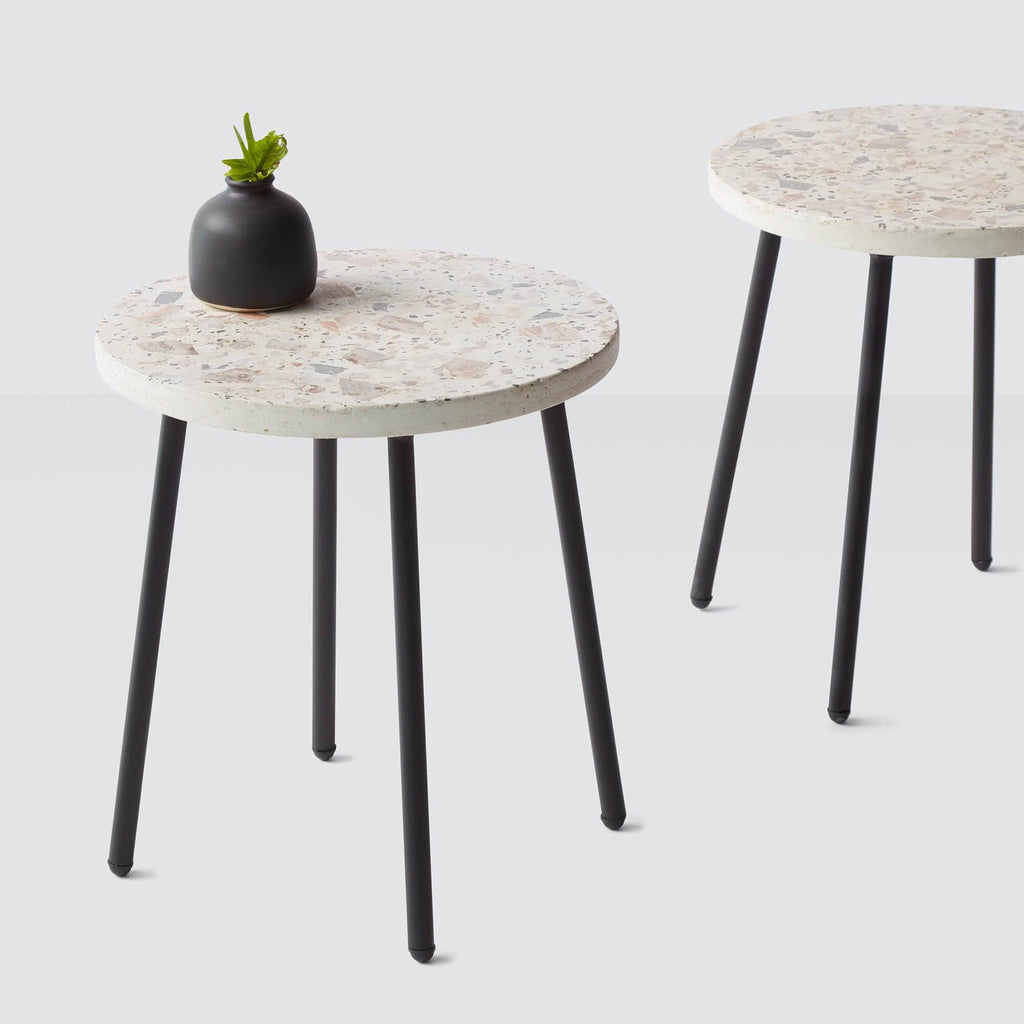 Santa Cruz Terrazzo Side Table   Black
