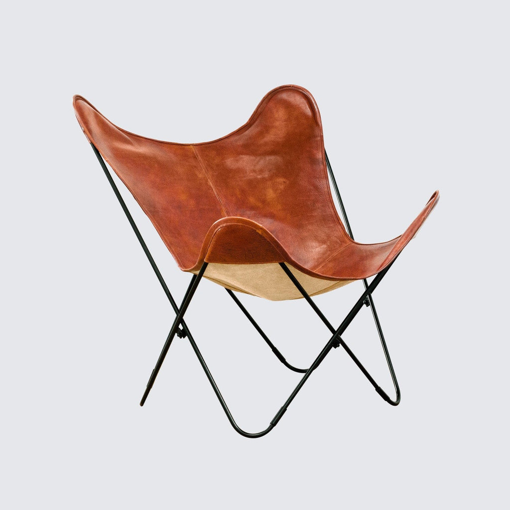 Butterfly chair black - Folding Butterfly Chair Cognac Vegetable Tanned Leather The Citizenry