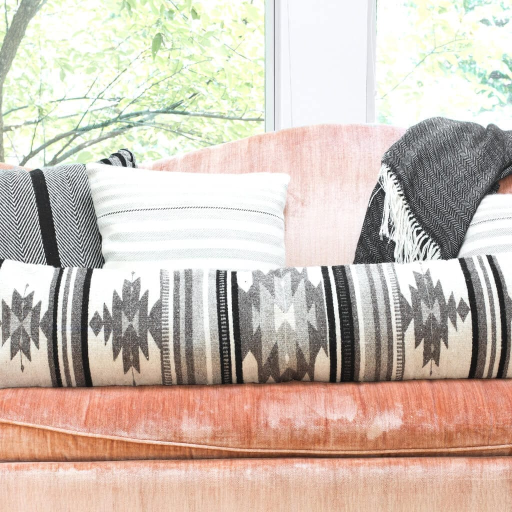 black and white geometric pillow  lumbar pillows – the citizenry -