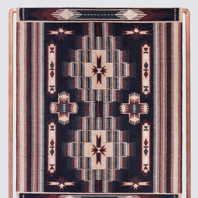 Navy and Blush Kilim Rug from India