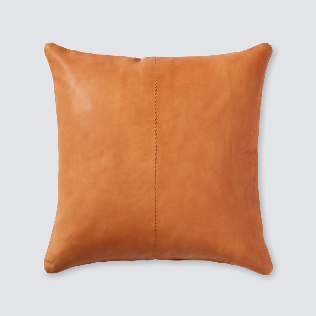 Cognac Leather Throw Pillow  0847786df0b2
