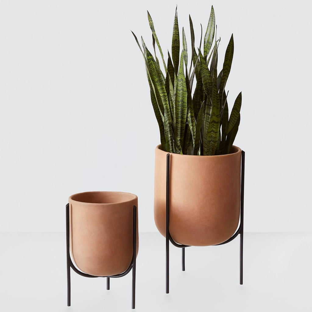 Mid Century Modern Clay Planter With Steel Base The Citizenry