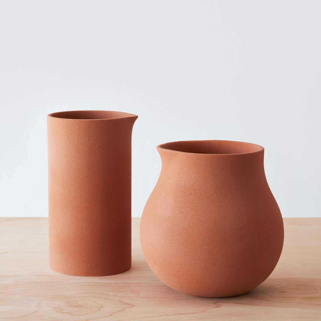Terracotta Clay Vases Set Of 2 Handcrafted In Mexico