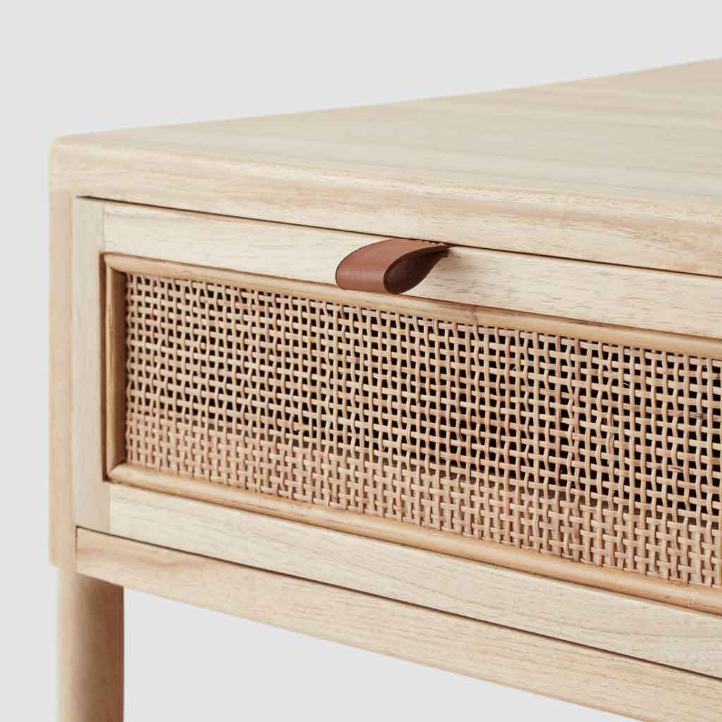 Modern Nightstand In Light Wood And Cane Handcrafted Furniture The Citizenry