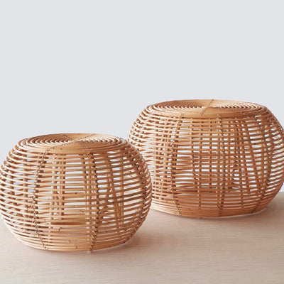 rattan ottomans small or large