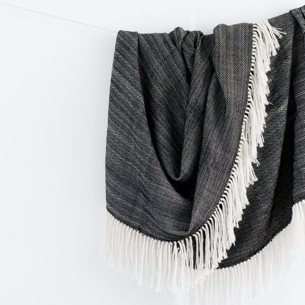 Black Throw Blanket | 18% Alpaca | Free Shipping