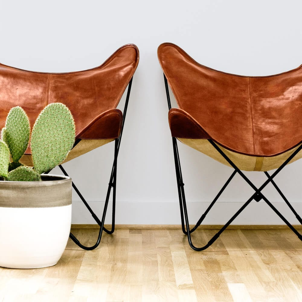 Butterfly chairs - Palermo Chair Black Cognac