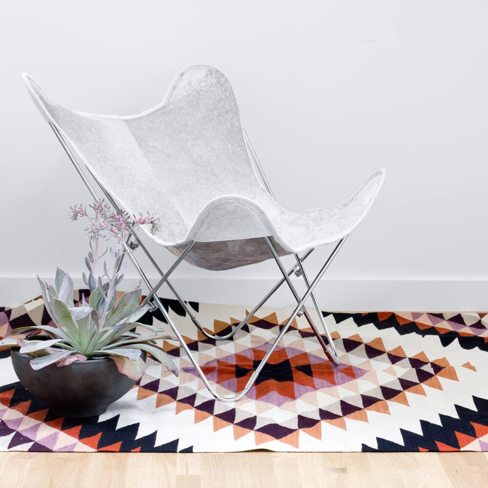 Cowhide butterfly chair - Palermo Chair Chrome Grey Cowhide