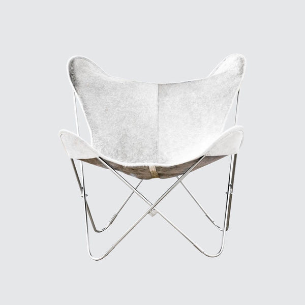Cowhide Butterfly Chair – White Leather Butterfly Chair