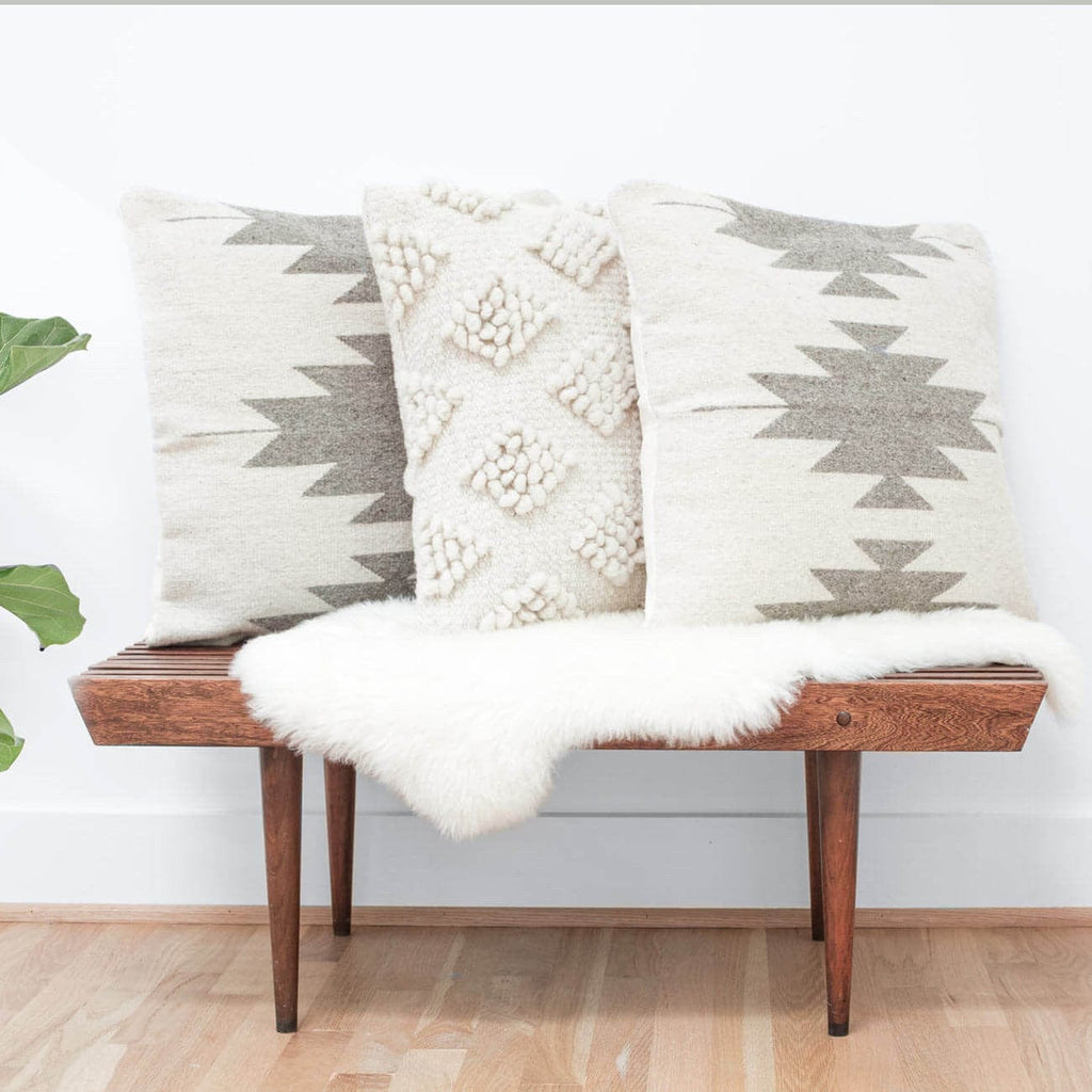 Aztec Throw Pillows in Cream & Grey   Inspired by Zapotec Patterns ...