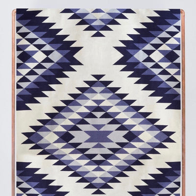 Modern Geometric Area Rug in Hues of Blue and Navy