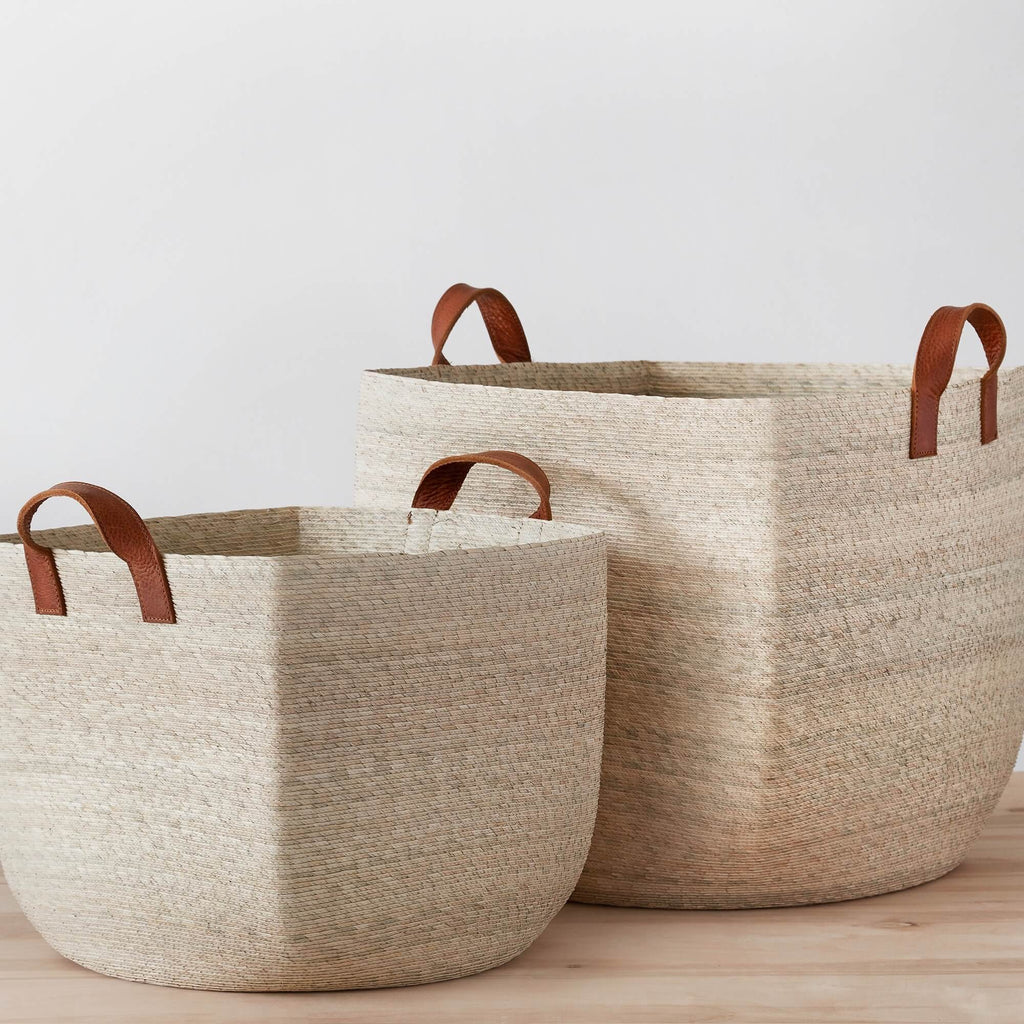 Woven Storage Baskets Handcrafted With Palm Leaves The