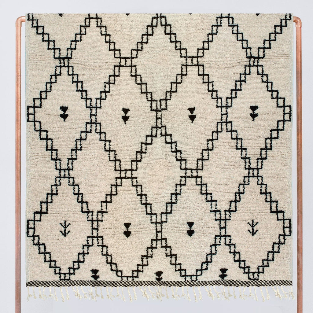 Moroccan Wool Rug Black And Cream Hand Knotted Rugs The Citizenry