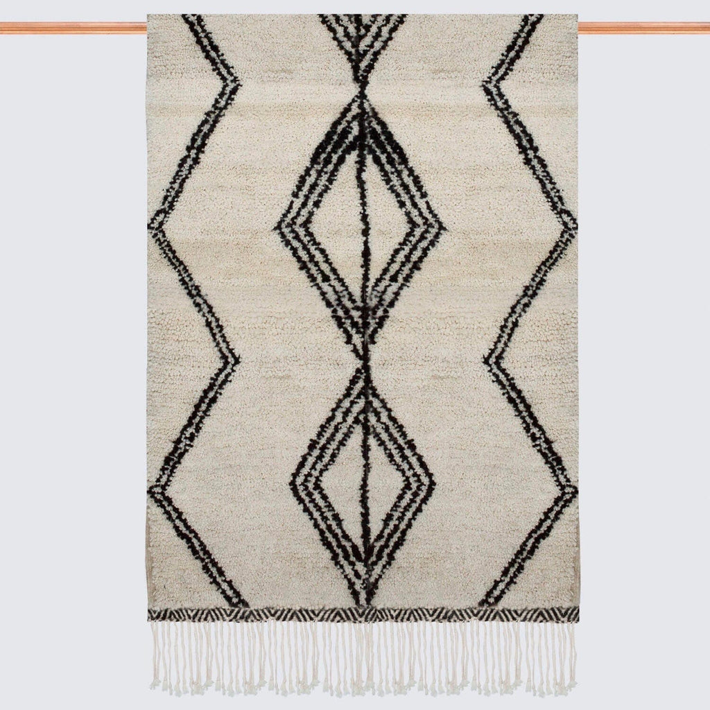 Moroccan Beni Ourain Rug Black And Cream Rugs The Citizenry