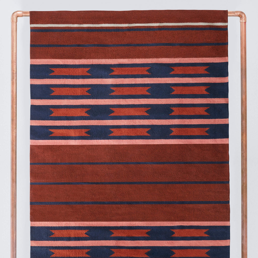 Striped 6x9 Area Rug Red Navy Handwoven In Oaxaca The Citizenry