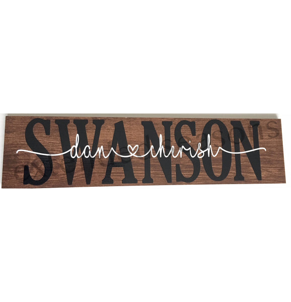 Personalized Wood Tile Sign - Last Name
