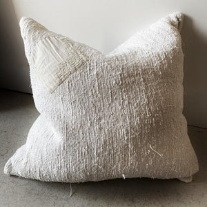 Woven Linen Patch Cushion | Ivory