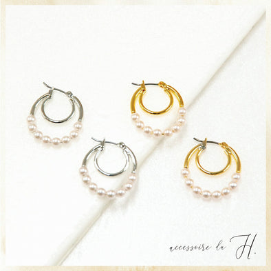 【accessoire du H.】パール×メタル2連フープピアス