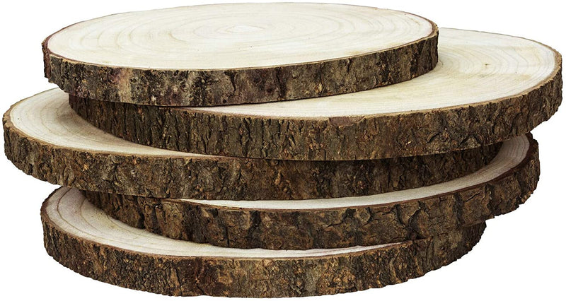 Large Wood Slices for Centerpieces - 5 Pack Wood Centerpieces for Tables, 11 to 13 inches, Rustic Wedding Centerpiece