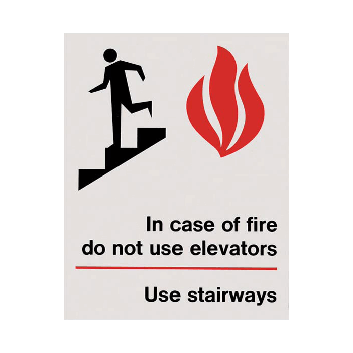 "In Case of Fire…Use Stairways, 5"" x 7"" Vinyl Sign"