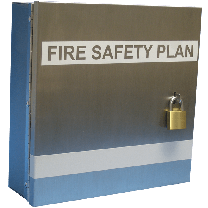 Fire Safety Plan Box. Stainless Steel