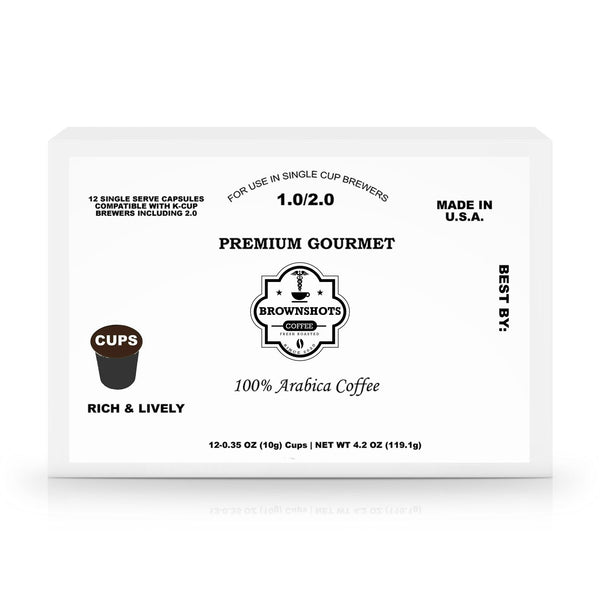 12 Pack Single Serve Coffee Capsules - Brown Shots Coffee