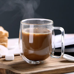 HEAT RESISTANT DOUBLE GLASS COFFEE MUG - Brown Shots Coffee