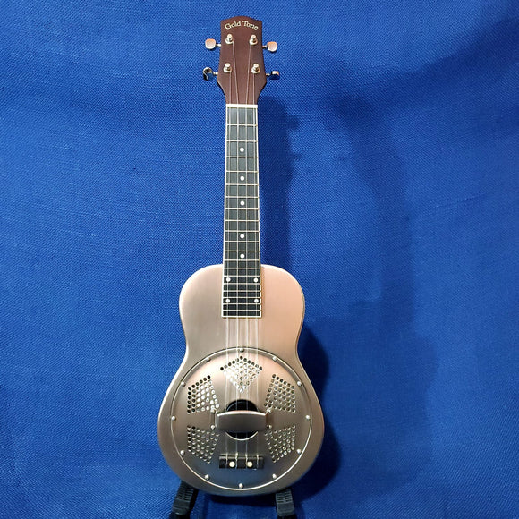 Gold Tone Concert Metal Body Brushed Aluminum Resonator Ukulele with Gig Bag U465