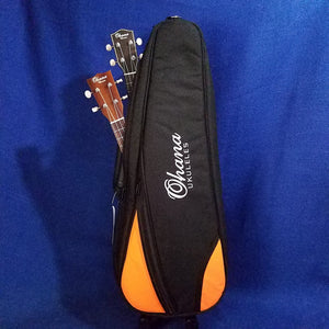 Ohana Double Concert Ukulele 2 Uke Gig Bag Black & Orange DB2-24OR Accessory