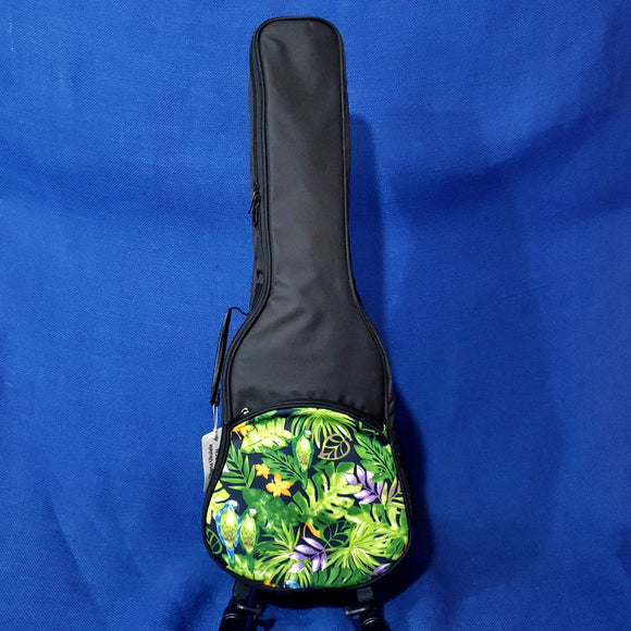 Ohana Tenor Ukulele Black Gig Bag with Green Parrot Print UB-27GN Accessory