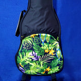 Ohana Concert Ukulele Black Gig Bag with Green Parrot Print Black UB-24GN Accessory