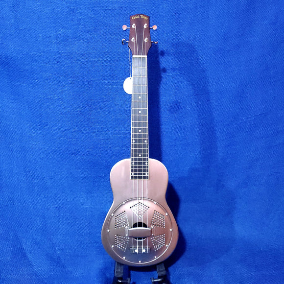 Gold Tone Super Concert Long Neck Metal Body Brushed Aluminum Resonator Ukulele with Gig Bag U670