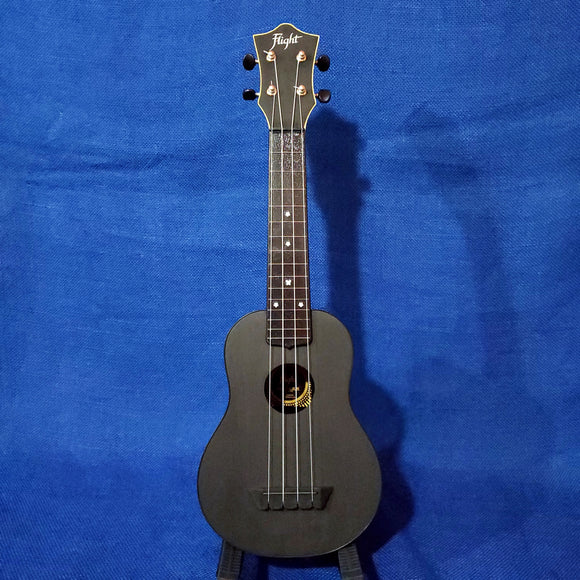 Flight Soprano TUS35 BK Black Travel Laminate Linden Top / ABS Plastic Back and Sides Ukulele w/ Bag