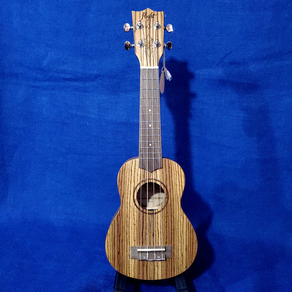 Flight Soprano DUS322 Laminate Zebrawood Ukulele w/ Bag i094