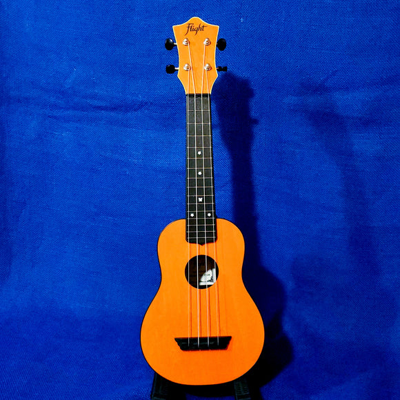 Flight Soprano TUS35 OR Orange Travel Laminate Linden Top / ABS Plastic Back and Sides Ukulele w/ Bag