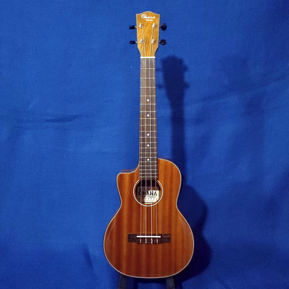 Ohana Tenor TK-35GCE-LH LEFTY All Solid Mahogany Gloss Cutaway A/E Ukulele i362