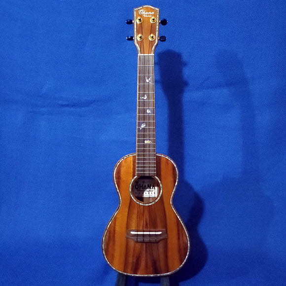 Ohana Concert CK-370G All Solid Koa Birds Abalone Inlay Ukulele i369